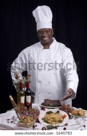 Photo of a chef - in chef attire - with good expressions.