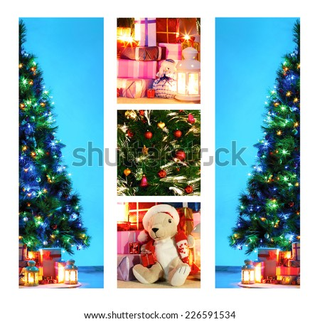Photo of a Christmas tree with decorations and fairy lights surrounded by presents on a wooden floor. The toy s generic and is not a known brand. - stock photo