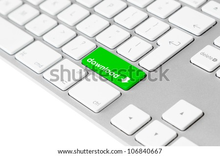 "Photo of a computer keyboard with one green key with the word ""download"" and the download symbol symbolising file data transfer."