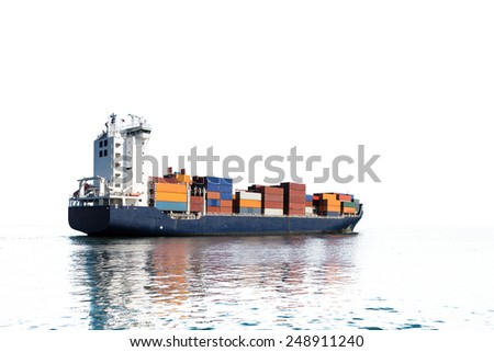 Photo of a container ship isolated on white background.   - stock photo