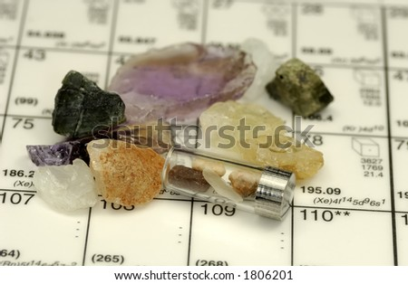 Photo of a Container With Minerals on a Periodic Table - stock photo