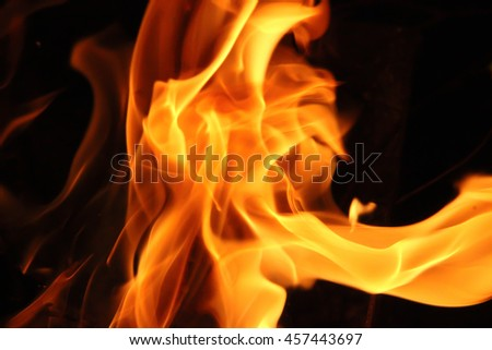 Photo of a fire on a black background