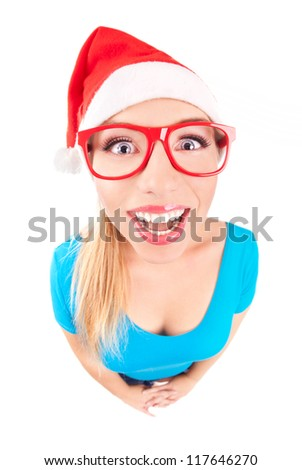 Photo of a funny Santa girl - stock photo