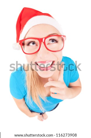 Photo of a funny Santa girl pointing up, fish eye lens used - stock photo