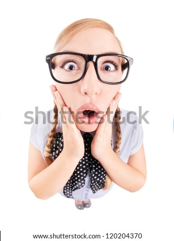 Photo of a funny surprised girl - stock photo