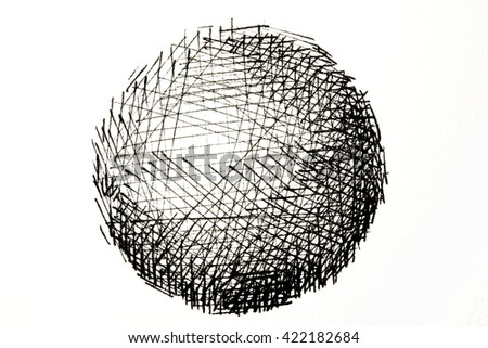 Photo of a Ink drawing or ink pen line drawing of a sphere. A sphere drawing consisting of black ink lines. Isolated on white. - stock photo