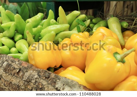 Photo of a large group of fruit and vegetables on straw - stock photo