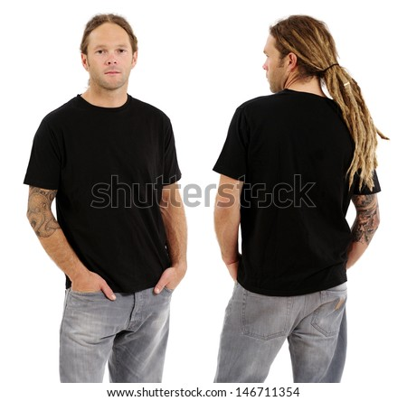 Photo of a male in his early thirties with long dreadlocks and posing with a blank black shirt.  Front and back views ready for your artwork or designs.  - stock photo