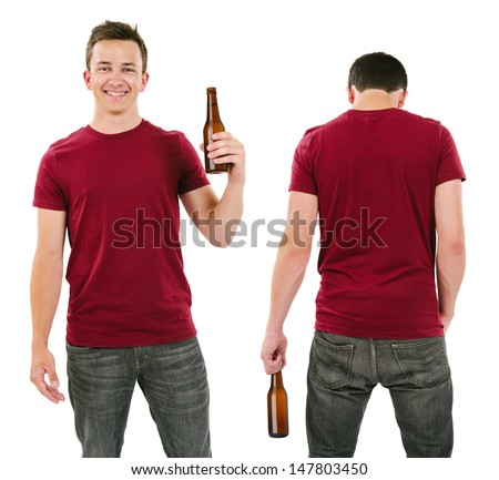 Photo of a male in his late teens posing with a blank burgundy shirt and holding a beer bottle.  Front and back views ready for your artwork or designs.  - stock photo