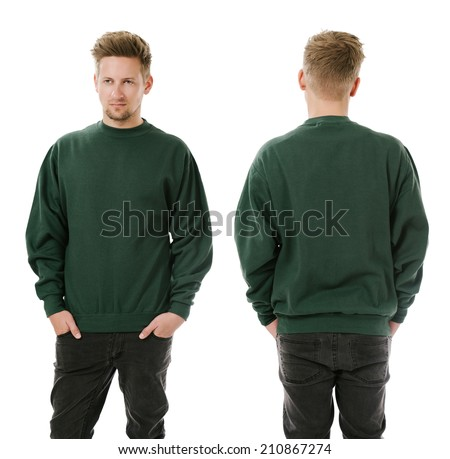 Photo of a man wearing blank green sweatshirt, front and back. Ready for your design or artwork. - stock photo