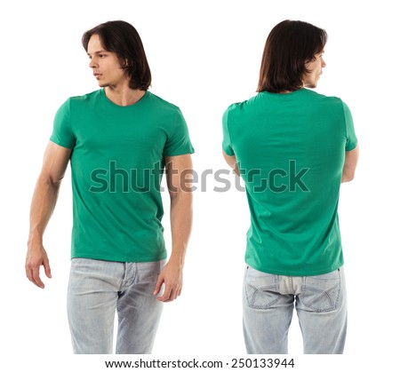 Photo of a man wearing blank green t-shirt, front and back. Ready for your design or artwork. - stock photo