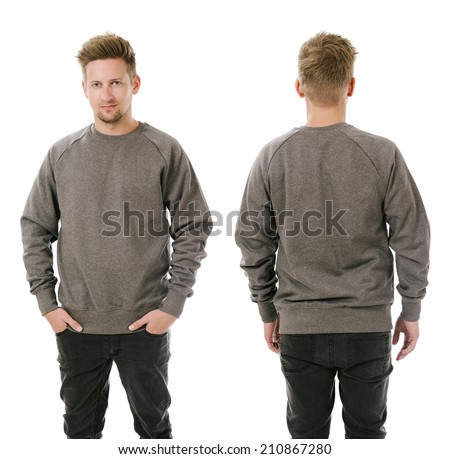 Photo of a man wearing blank grey sweatshirt, front and back. Ready for your design or artwork. - stock photo