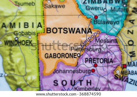 Photo of a map of Botswana and the capital Gaborone .