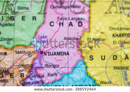 Photo of a map of Chad and the capital Ndjamena . - stock photo