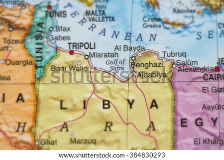 Photo map libya capital tripoli stock photo safe to use 384830293 photo of a map of libya and the capital tripoli publicscrutiny Images