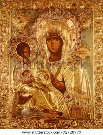 photo of a miracle icon the Virgin with the Three Hands and Christ , from 8 th century - stock photo