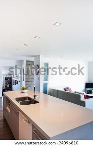 Photo of a modern interior designer kitchen - stock photo