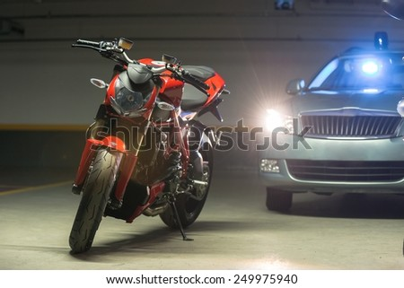 Photo of a Motorcycle parking in garage - stock photo