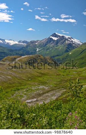 Photo of a mountain landscape in Alaska - stock photo