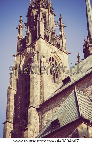 photo of a part of an ancient gothic catholic church in Chech Republic Brno with vintage treatment