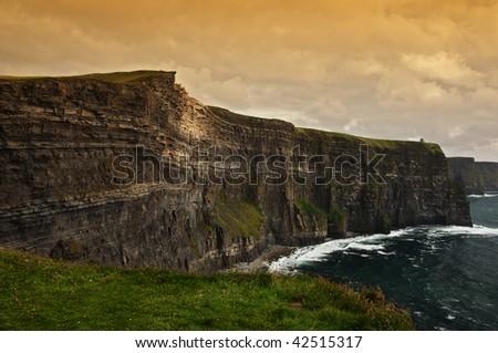 photo of a scenic seascape on the west coast of ireland - stock photo
