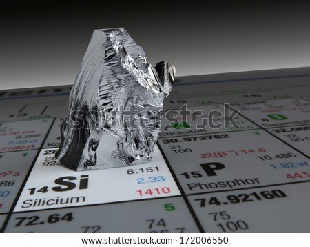 photo of a silicon piece placed on a common periodic table of chemical elements/ silicon on periodic table of elements - stock photo