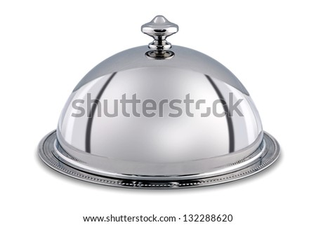 Photo of a silver serving dome or Cloche isolated on a white background with clipping path. - stock photo