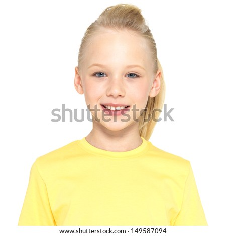 Photo of  a smiling young happy girl looking at camera isolated on white background - stock photo