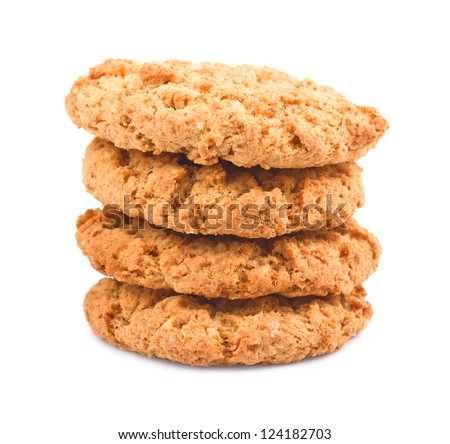 Photo of a stack of chip cookies on a white background