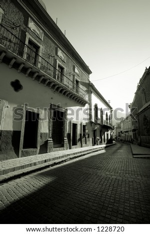 Photo of a street in the early morning in Guanajuato, GTO, Mexico - stock photo