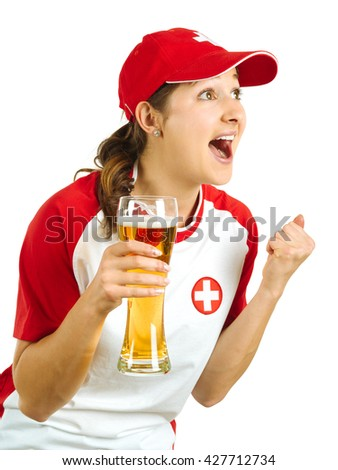 Photo of a Swiss sports fans holding a beer and cheering for her team isolated over white background. - stock photo