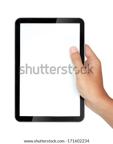 photo of a tablet held by a hand isolated on white background - stock photo
