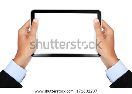photo of a tablet held by a hand of businessman  horizontally isolated on white background