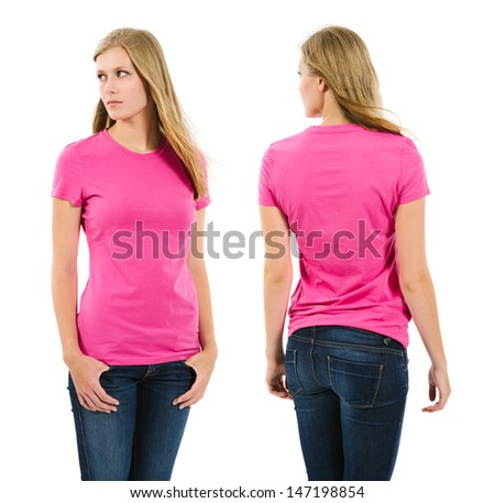 Photo of a teenage female with long blond hair posing with a blank pink shirt.  Front and back views ready for your artwork or designs.  - stock photo