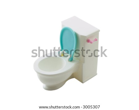 Photo of a toy toilet isolated on white