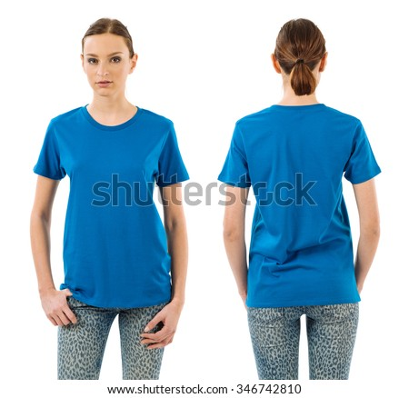 Photo of a young beautiful woman with blank blue shirt, front and back views. Ready for your design or artwork. - stock photo