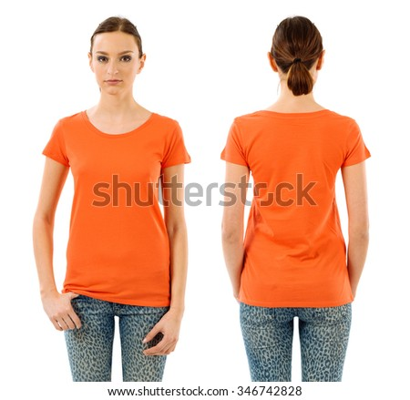 Photo of a young beautiful woman with blank orange shirt, front and back views. Ready for your design or artwork. - stock photo