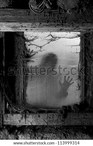 Photo of a zombie outside a window that is covered with spiderwebs and filth. - stock photo
