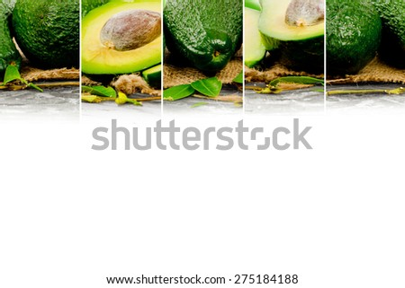 Photo of abstract avocado mix with white space for text - stock photo