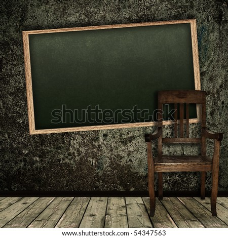 Photo of abstract grunge shabby interior with school blackboard and single chair