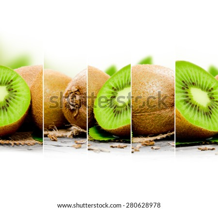 Photo of abstract kiwi mix with white space for text - stock photo