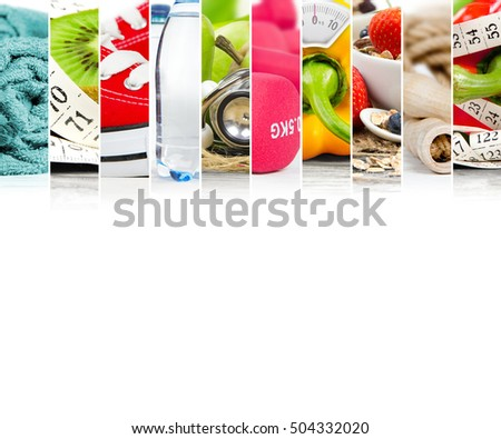 Photo of abstract mix stipes with trainers, dumbbell, bottle and vegetable; concept of fitness; red, green, yellow colors; white space for text