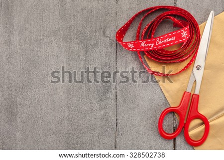 Photo of accesorise for packaging christmas present - stock photo