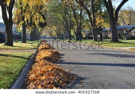 Photo of alley with heaps of fallen leaves gathered along a curb. - stock photo