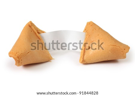 Photo of an isolated broken fortune cookie on a white background.