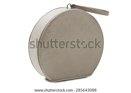 Photo of an Old retro style beige hat bag isolated on white background. Studio shot - stock photo