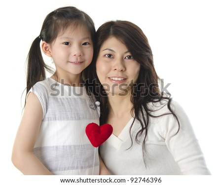 Photo of Asian mother and daughter on white background