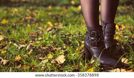 photo of autumn woman shoes - stock photo
