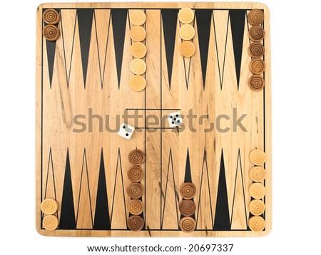 Photo of backgammon game against the white background - stock photo