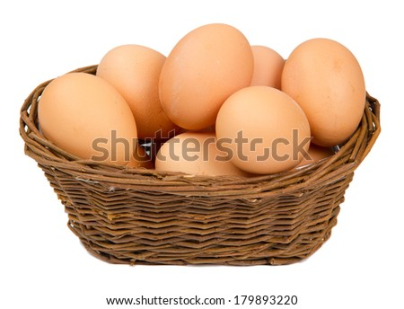 Photo of basket with eggs isolated on white